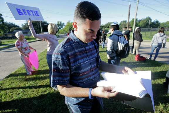 """Jordan Davis, 18 and a senior at Furr High School, helped organize Tuesday's protest to bring back Principal Bertie Simmons. """"She has fought for me and so many people,"""" he said."""