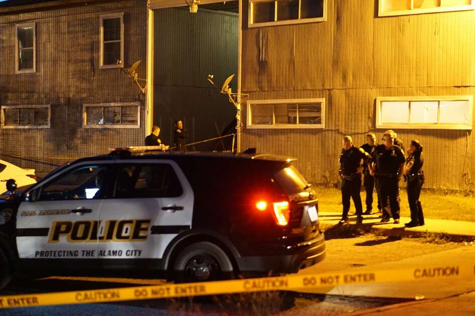 Police said two children, ages 7 and 3, were found injured from an apparent shooting when they arrived about 7 p.m. Tuesday at the Palms apartment complex, 3735 E. Commerce St.