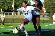 Girls soccer action between Notre Dame of Fairfield and New Milford in Fairfield, Conn., on Tuesday Oct. 17, 2017.