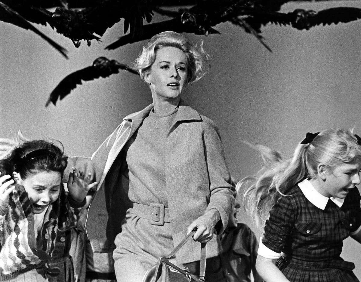 Scene from Alfred Hitchcock's 'The Birds,' starring Tippi Hedren (center).