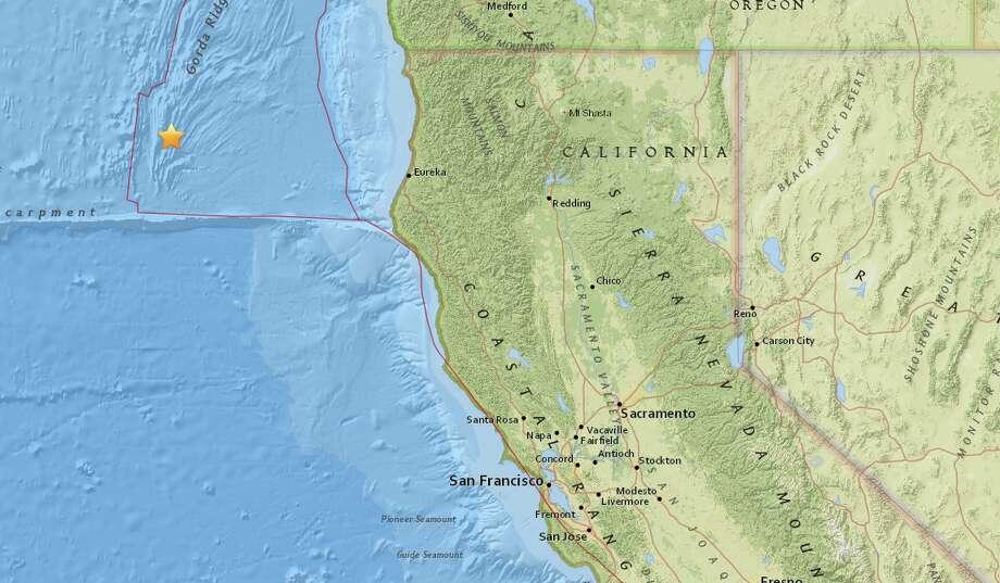 A 4.2 magnitude quake struck off the coast of Northern California Tuesday night. Photo: Courtesy USGS
