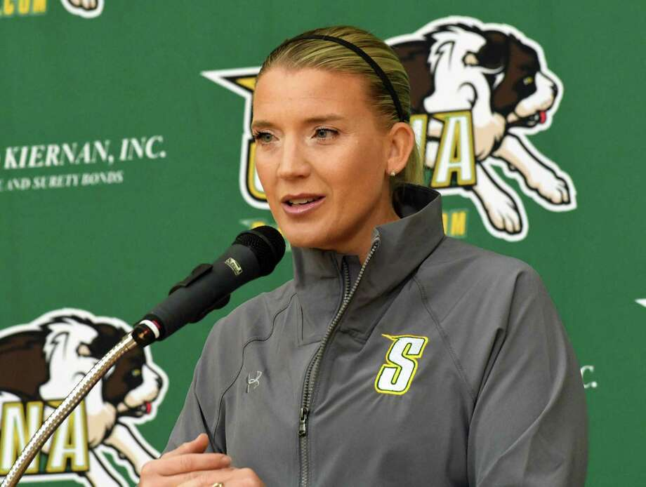 Siena women's basketball head coach Ali Jaques talks to the press during the women's media day at Siena College on Tuesday, Oct 17, 2017 in Loudonville, N.Y. (Lori Van Buren / Times Union) Photo: Lori Van Buren / 20041870A