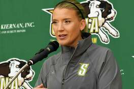 Siena women's basketball head coach Ali Jaques talks to the press during the women's media day at Siena College on Tuesday, Oct 17, 2017 in Loudonville, N.Y. (Lori Van Buren / Times Union)