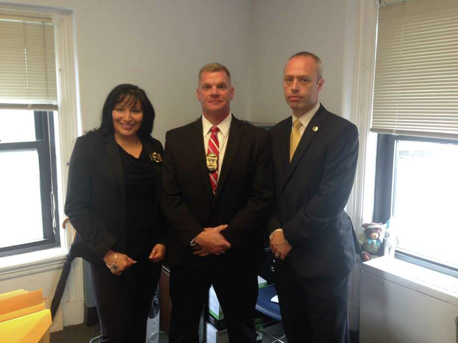 Investigators from Schenectady and State Police announced on Oct. 16, 2017, they had solved a cold case from 1995 when the body of Suzanne Nauman, 17, was found at the Schenectady Municipal Golf Course. Left to right are Schenectady Police Investigator Mari Fragoso, Detective Sgt. Daniel Kane and State Police Investigator Kevin Noto. (Paul Nelson/Times Union) Photo: Paul Nelson/Times Union