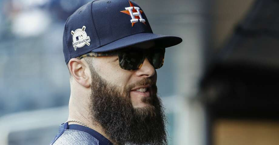 Houston Astros starting pitcher Dallas Keuchel stands in the dugout before Game 4 of the ALCS at Yankee Stadium on Tuesday, Oct. 17, 2017, in New York. ( Karen Warren  / Houston Chronicle ) Photo: Karen Warren/Houston Chronicle