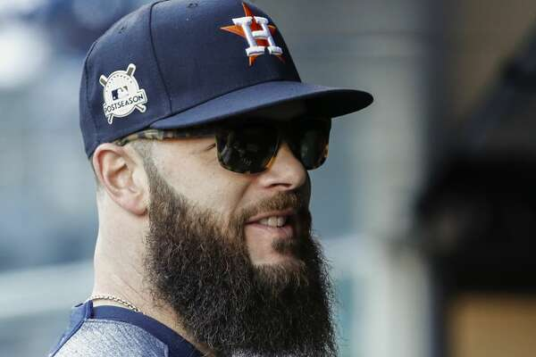 Houston Astros starting pitcher Dallas Keuchel stands in the dugout before Game 4 of the ALCS at Yankee Stadium on Tuesday, Oct. 17, 2017, in New York. ( Karen Warren  / Houston Chronicle )