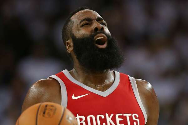 OAKLAND, CA - OCTOBER 17:  James Harden #13 of the Houston Rockets reacts to a play against the Golden State Warriors during their NBA game at ORACLE Arena on October 17, 2017 in Oakland, California. NOTE TO USER: User expressly acknowledges and agrees that, by downloading and or using this photograph, User is consenting to the terms and conditions of the Getty Images License Agreement.  (Photo by Ezra Shaw/Getty Images)