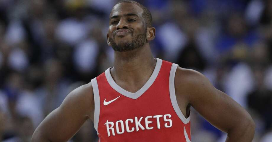 Chris Paul (3) reacts to a call against the Rockets in the first half as the Golden State Warriors played the Houston Rockets at Oracle Arena in Oakland, Calif., Tuesday, October 17, 2017. Photo: Carlos Avila Gonzalez/The Chronicle
