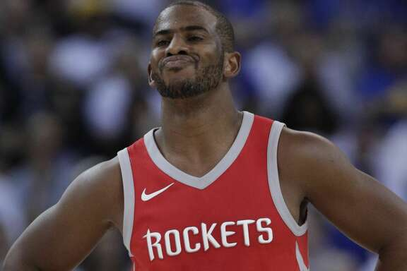 Chris Paul (3) reacts to a call against the Rockets in the first half as the Golden State Warriors played the Houston Rockets at Oracle Arena in Oakland, Calif., Tuesday, October 17, 2017.