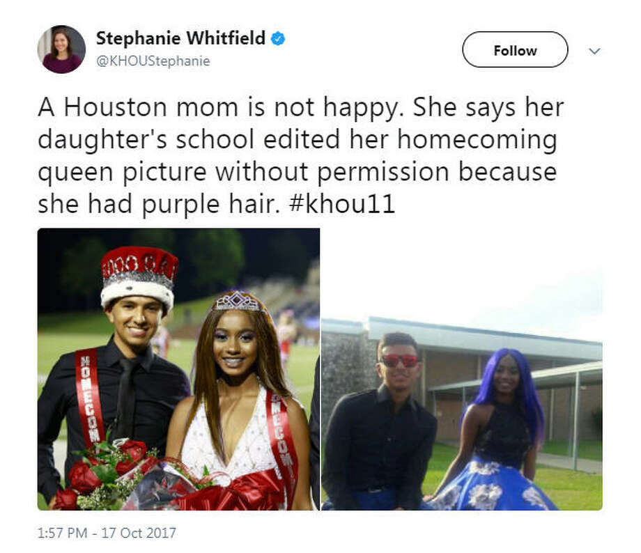 A photo of the 2017 North Shore Senior High School's homecoming king and queen was Photoshopped due to her hair being died bright purple, which is against school dress code.Source: Twitter Photo: Twitter