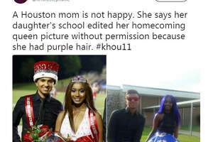 A photo of the 2017 North Shore Senior High School's homecoming king and queen was Photoshopped due to her hair being died bright purple, which is against school dress code.  Source:  Twitter