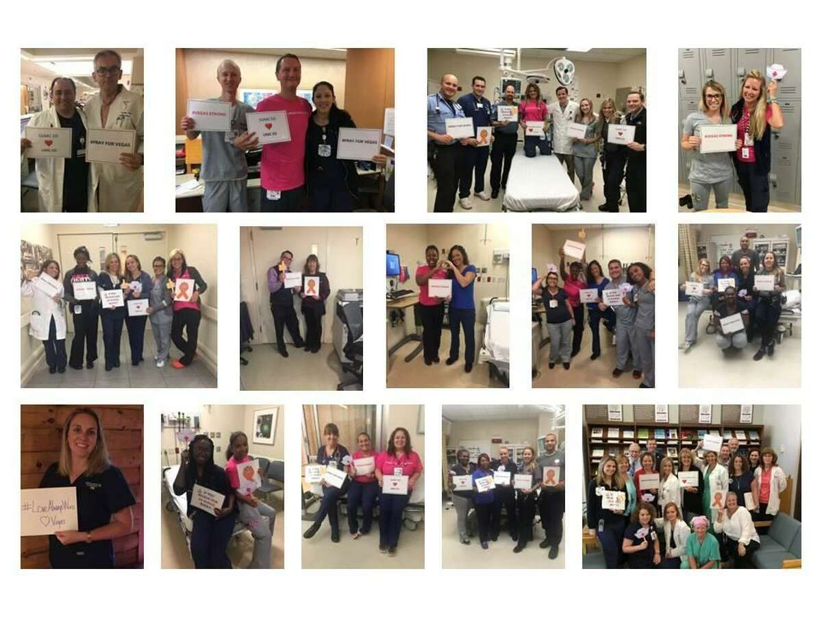 Emergency department staff at St. Vincent's Medical Center honored those shot in Las Vegas Oct. 1 by taking pictures of themselves holding messages of support. The photos were sent to the University MedicalCenter of Southern Nevada. Photos courtesy of St. Vincent's Medical Center.