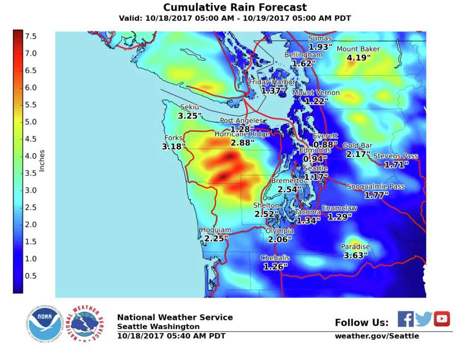 Rain is on the way! The National Weather Service it's likely to be the wettest 24-hour period in the Seattle area since February. Photo: National Weather Service Seattle