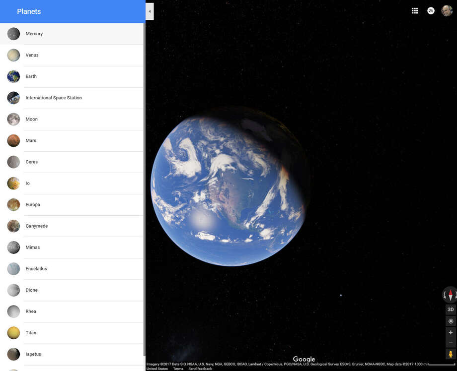 Turn on the satellite view on Google Maps, then zoom out beyond Earth's atmosphere to trigger the list of planets or moons you can visit. Photo: Houston Chronicle Screenshot / Google Maps