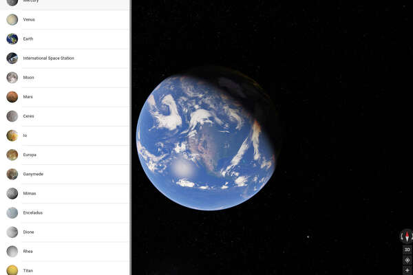 Turn on the Satellite view on Google Maps, then zoom out beyond Earth's atmosphere to trigger the list of planets or moons you can visit.