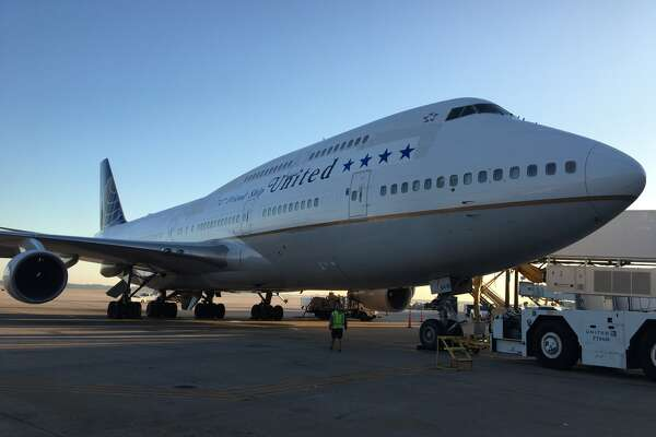 United Airlines brought a Boeing 747 to Bush Intercontinental Airport for a farewell flight before the plane is retired from United's fleet.