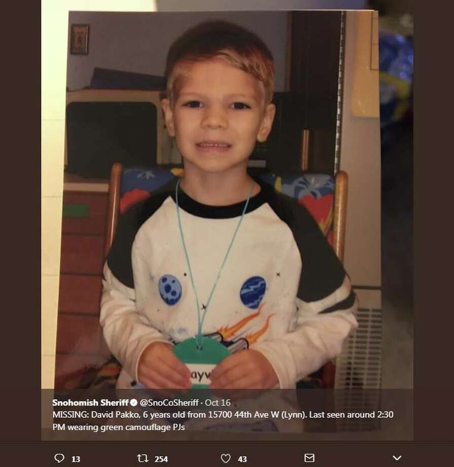 The Snohomish County Sheriff‏'s Office posted several messages with information about the missing boy, 6-year-old Dayvid Pakko, on Oct. 16, 2017. Pakko's body was found the next day in a dumpster near the apartment from where he disappeared. Photo: Snohomish County Sheriff‏'s Office