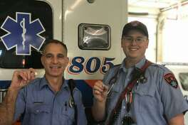 Stratford Paramedic Steve Parise (left) and Stratford EMT Michael Egan delivered a baby boy on an ambulance during a maternity call Tuesday morning. Photo courtesy of the Stratford EMS Facebook page.