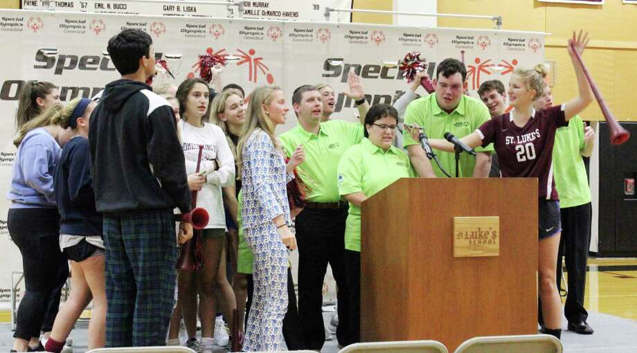 Students at St. Luke's in New Canaan, Conn. cheered on  Team Connecticut for the 2018 Special Olympics USA Games in Seattle. The team was announced at the school on Oct. 16, 2017 Photo: Erin Kayata / Hearst Connecticut Media / New Canaan News