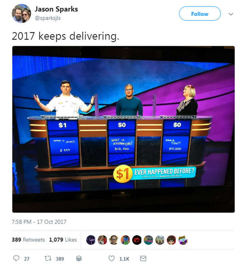 Jeopardy contestant Manny Abell won with just $1 left.Image source: Twitter Photo: Jason Sparks Via Twitter