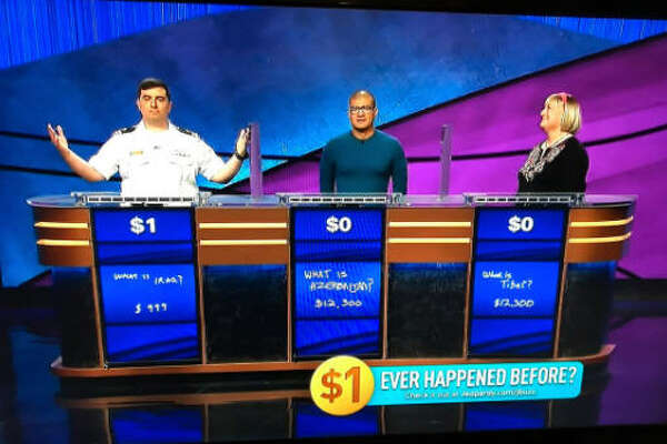 Jeopardy contestant Manny Abell won with just $1 left. Image source:  Twitter
