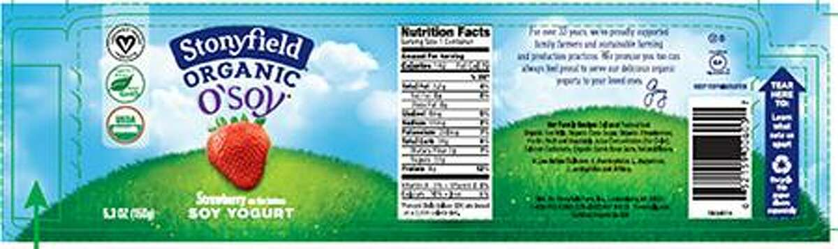 Organic yogurt maker, Stonyfield, is voluntarily recalling a specific code date of its O?'Soy Strawberry soy yogurt because it may contain an undeclared milk allergen. The recalled yogurt was sold in 18 states, including Connecticut. Photo courtesy of the U.S. Food and Drug Administration.