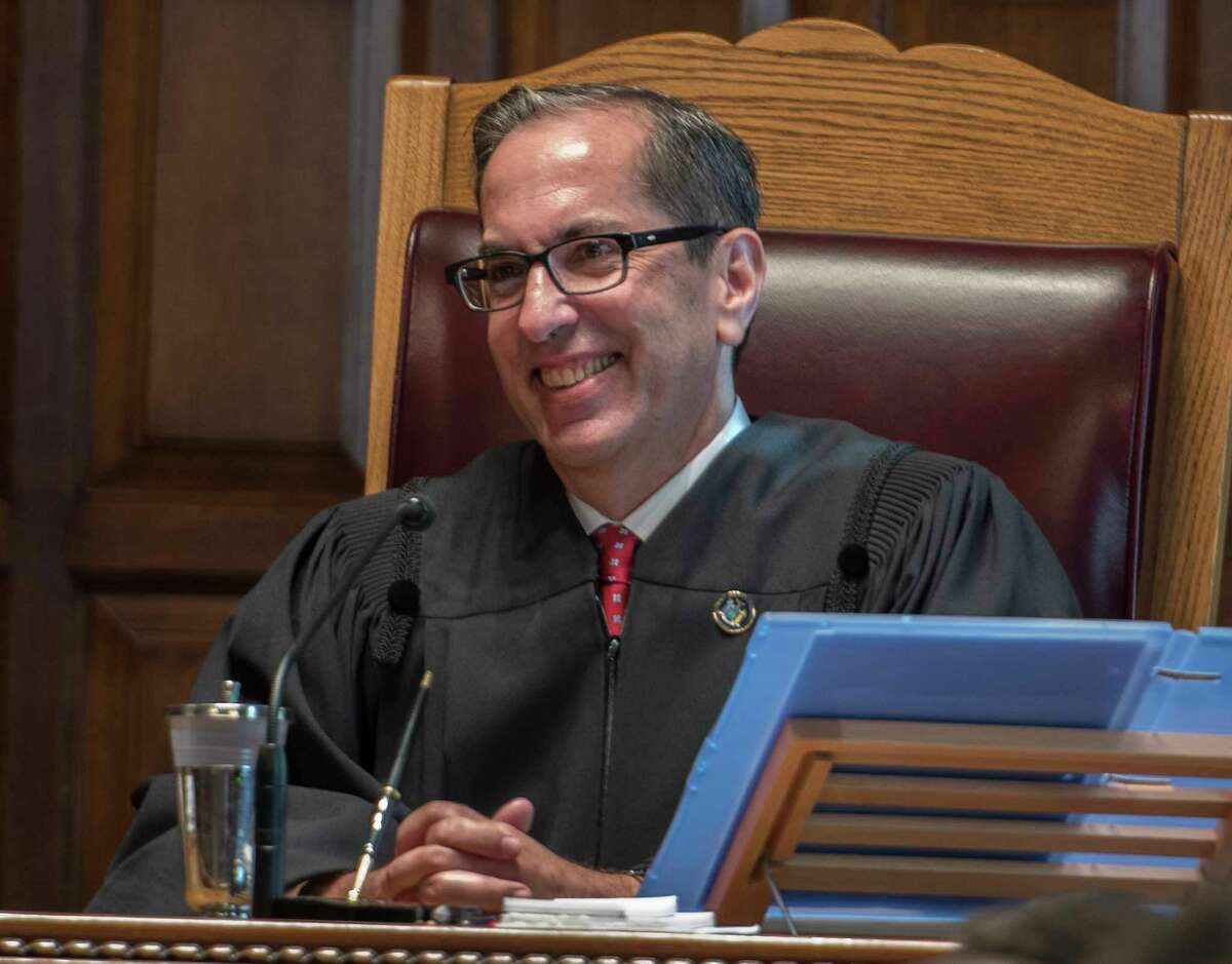 Associate Judge of the Court of Appeals of New York State Paul Feinman gives his acceptance speech after being sworn in Wednesday Oct. 18, 2017 in Albany, N.Y. (Skip Dickstein/Times Union)