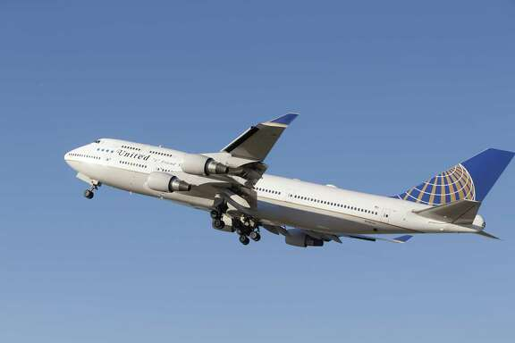 A United Airlines 747 takes off from Bush Intercontinental Airport on a farewell flight Wednesday, Oct. 18, 2017, in Houston. United Airlines is retiring its Boeing 747 aircraft.