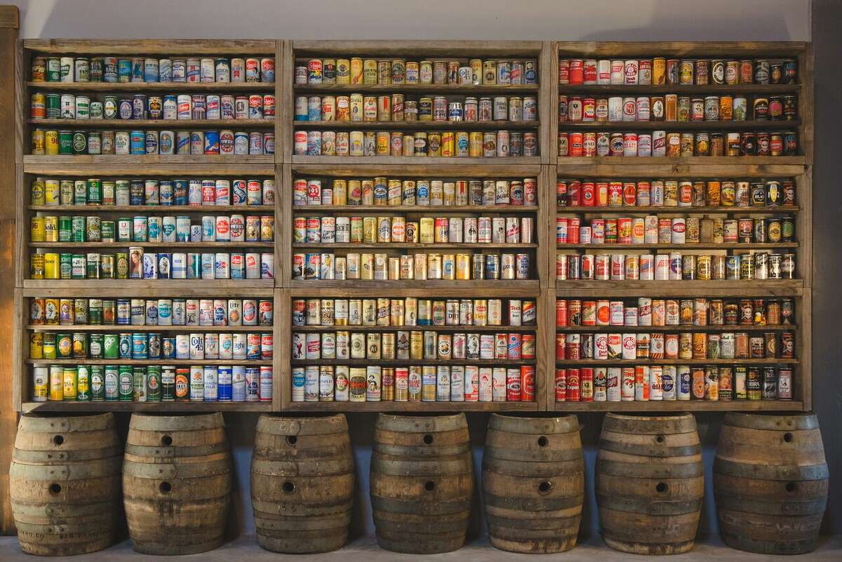 Anchor Brewing Company will soon open Anchor Public Taps, its first public taproom since before Prohibition. Pictured: Fritz Maytag's vintage beer can collection.