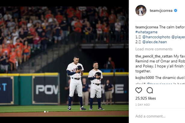 Carlos Correa (@teamcjcorrea, 444K followers) shares a solemn moment on the field with teammate Jose Altuve.