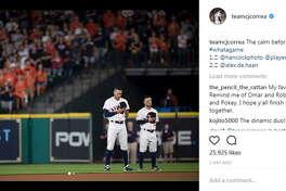 Carlos Correa (@teamcjcorrea, 444K followers) shares a solemn moment on the field with teammate Jose Altuve.