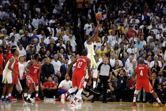 Had this shot by Kevin Durant, center, counted, the Warriors would have pulled out a win at the end. However, it was ruled to have come too late to beat the buzzer upon video review, thus giving the Rockets a big opening victory at Oracle Arena on Tuesday.