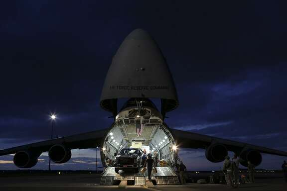The Air Force Reserve Command's 433rd Airlift Wing out of Joint Base San Antonio-Lackland, loads a C-5M Super Galaxy with generators and a mobile field hospital to serve the VA Caribbean Healthcare System on a supply mission  from MacDill Air Force Base in Tampa, FL to San Juan, Puerto Rico on Sunday, Oct. 1, 2017. The mobile clinic, being sent by James A. Haley Veterans' Hospital Emergency Management, is part of the first support mission for the VA's assets in the Caribbean.