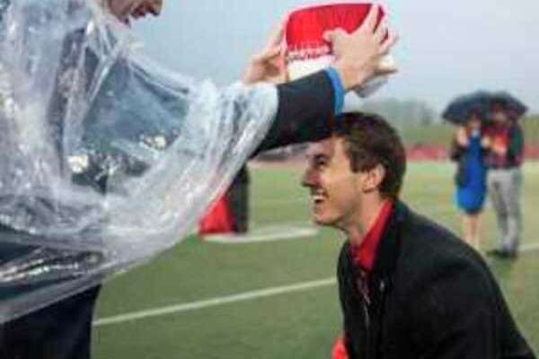 Sean Gilmore, Saginaw Valley State University's 2016 Homecoming king, places the crown atop his successor, Mitchell Kennedy, an accounting major from Bad Axe. (Submitted Photo)