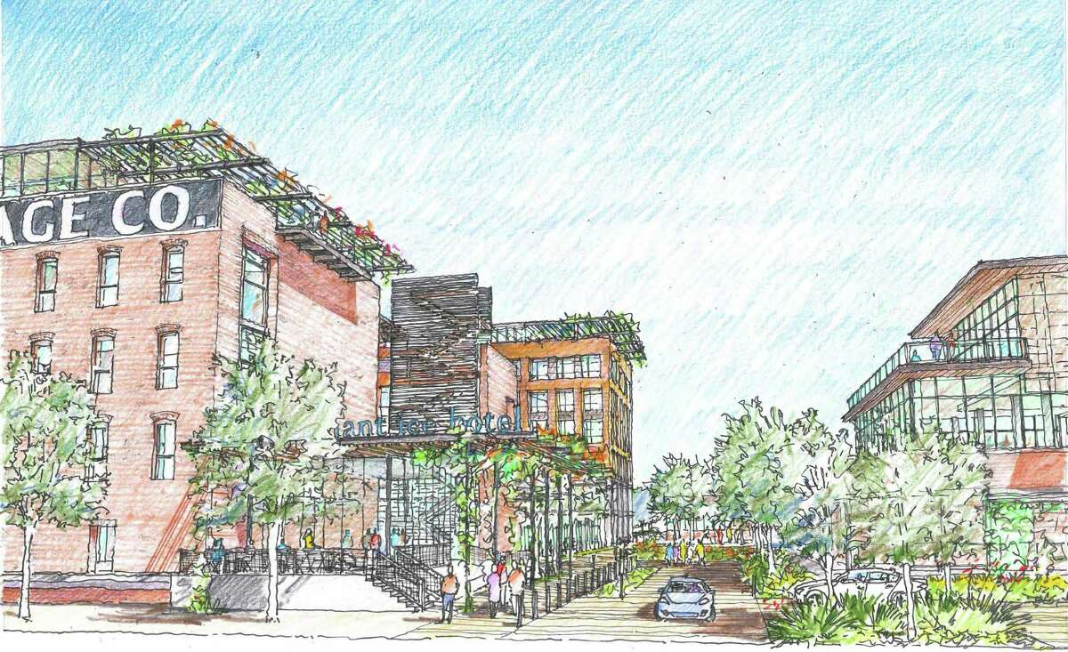 Early concept drawings of the mixed-use Merchants Ice development including VelocityTX's innovation center.