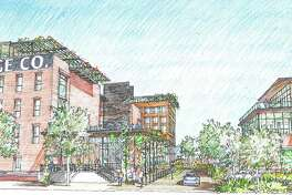"""Early concept drawings of the mixed-use Merchants Ice development including VelocityTX's innovation center. """"The concept shows a live, work, play, create environment with a multi-building innovation center, a boutique hotel, event center, office and lab space, residential apartments and an outdoor plaza and green space,"""" according to a news release."""