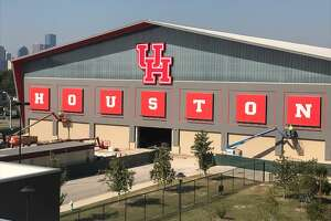 The University of Houston's new $20 million indoor facility is getting dressed up just in time for the nationally televised game against No. 25 Memphis on Thursday, Oct. 19, 2017.
