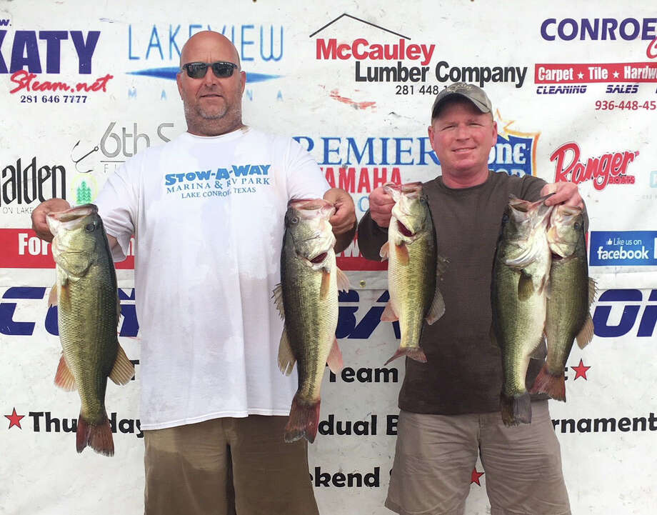 Vince Anderson and Rusty Lawson came in first place in the CONROEBASS Tuesday Team Championship with a stringer weight of 18.77 pounds. Photo: CONROEBASS