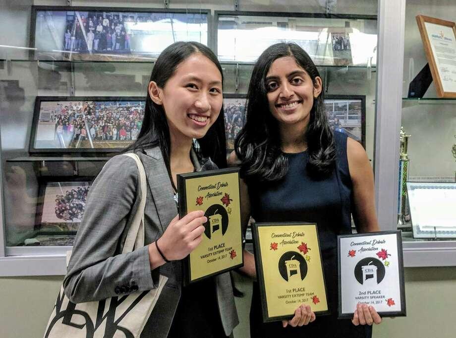 Greenwich High School seniors Shobhita Sundaram and Sarah Xu took first place at a Connecticut Debate Association tounament in Stamford on Oct. 14. Photo: Contributed