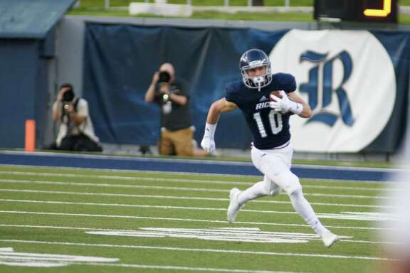 Rice Owls wide receiver Austin Trammell (10) runs the ball during the second quarter at Rice Stadium on Saturday, Oct. 7, 2017, in Houston TX