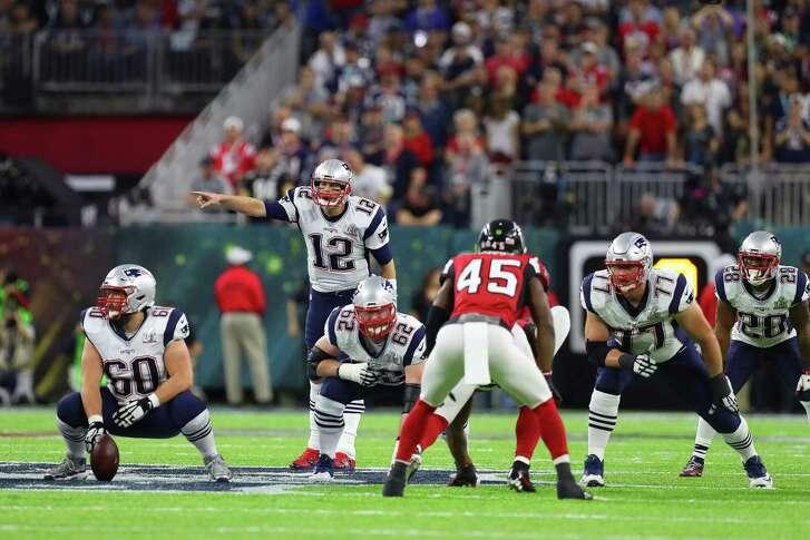 New England Patriots quarterback Tom Brady (12) calls out. aplay during the second quarter of Super Bowl LI at NRG Stadium on Sunday, Feb. 5, 2017, in Houston. ( Brett Coomer / Houston Chronicle )