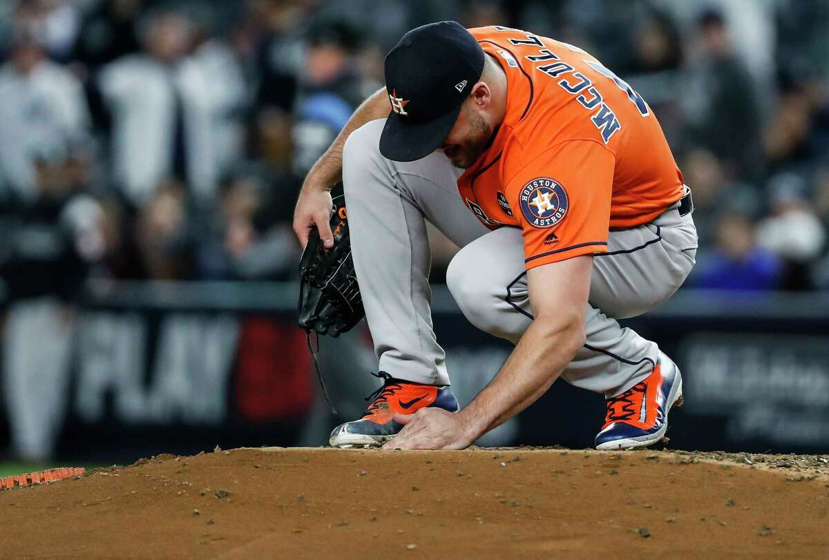 PHOTOS: Lance McCullers searching for diamonds after his necklace broke during Game 4 Houston Astros starting pitcher Lance McCullers Jr. searches for diamonds from a broken necklace on the pitchers mound during Game 4 of the ALCS against the New York Yankees at Yankee Stadium on Tuesday, Oct. 17, 2017, in New York. Browse through the photos to see Lance McCullers and some helpers try to retrieve the diamonds from his broken necklace during Game 4.