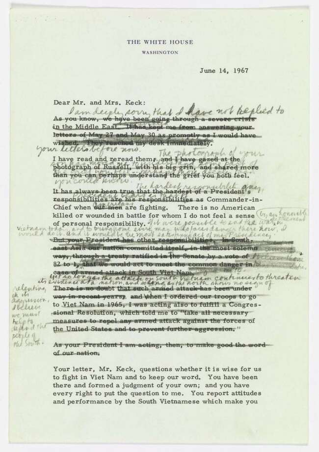A draft of a letter from President Lyndon Johnson to the family of Marine Cpl. Russell F. Keck, killed in Vietnam. Photo: National Archives. / HANDOUT