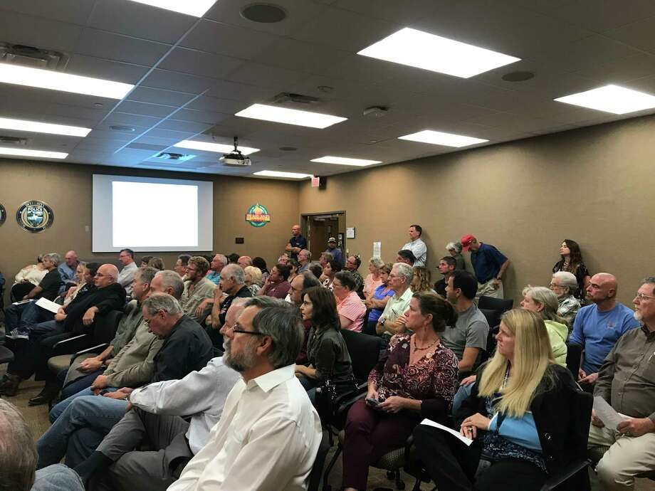 """Residents from areas targeted for annexation by Pearland filled a hearing on the proposal to voice their opposition. """"I believe this is nothing but a land grab,"""" said Michele Falzon, who owns property in two of the five targeted parcels."""