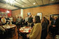 Winsted Democrats met Tuesday for a meet-and-greet with residents ahead of the November municipal election.