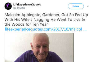 Malcolm Applegate of Birmingham, Britain said he disappeared for 10 years because of issues he had with his wife.  Image source:  Twitter
