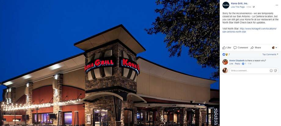 Without much explanation, Kona Grill at La Cantera has temporarily closed their doors.
