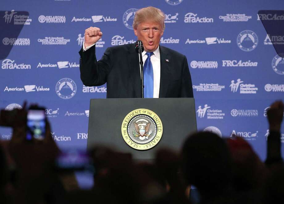 President Donald Trump speaks during the annual Family Research Council's Values Voter Summit on Friday in Washington, DC. In identifying with the ethnonationalist movement associated with Trump and former aide Steve Bannon, who also spoke at the gathering, the religious right is making a mockery of its faith. Photo: Mark Wilson /Getty Images / 2017 Getty Images
