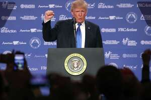 President Donald Trump speaks during the annual Family Research Council's Values Voter Summit on Friday in Washington, DC. In identifying with the ethnonationalist movement associated with Trump and former aide Steve Bannon, who also spoke at the gathering, the religious right is making a mockery of its faith.