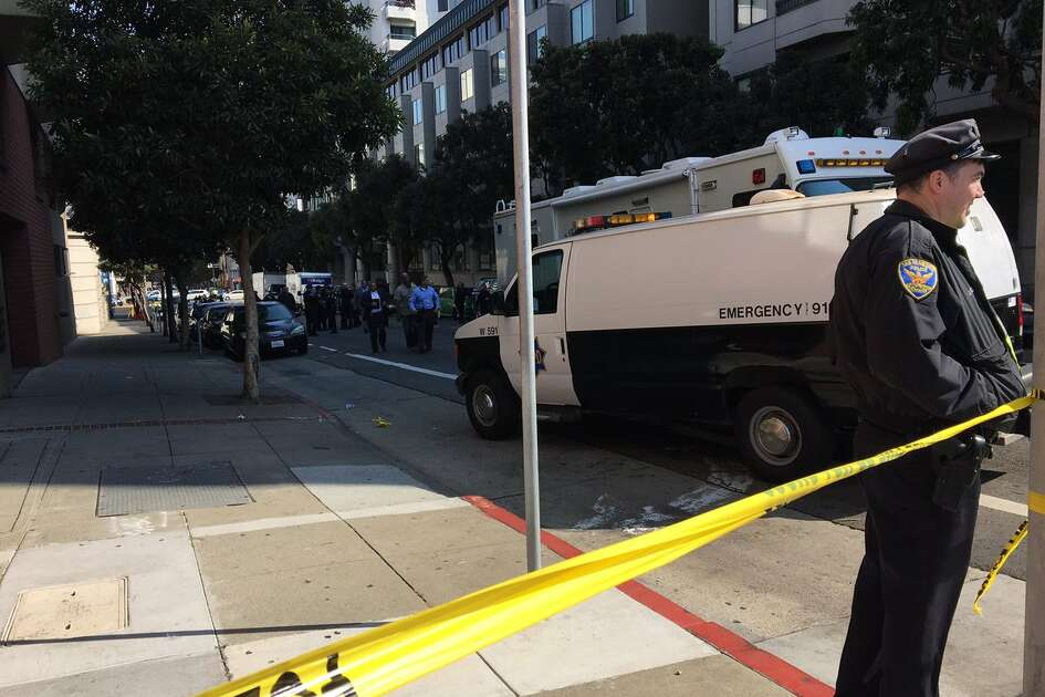 A San Francisco Police officer was struck by a car near Turk Street and Van Ness Avenue after 12:30 p.m. Wednesday, October 18, 2017.